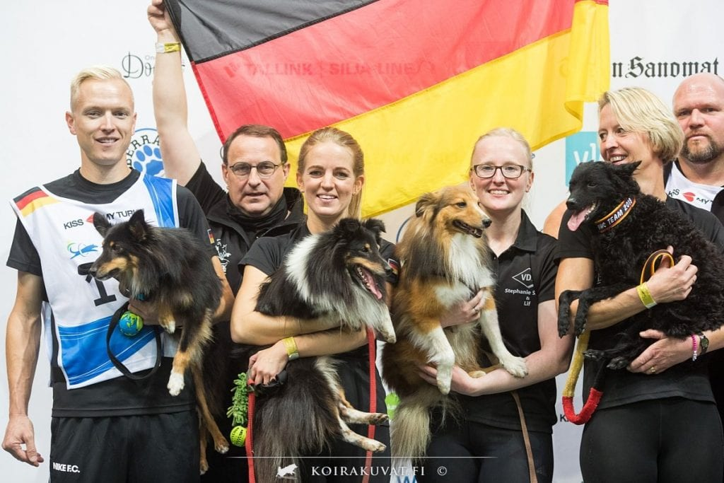Germany's winning team in the Medium Teams at the Agility World Championships 2019