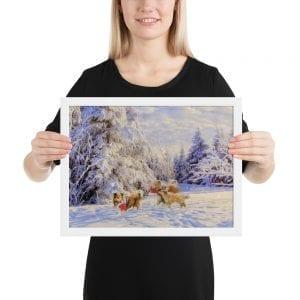 Shelties in the Snow Framed Print